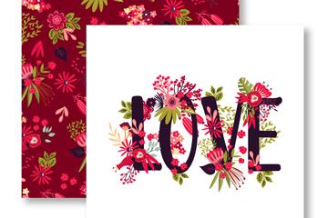 彩绘花卉爱的卡片正反面矢量素材
