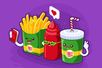 可爱立体自拍快餐食物开户送体验彩金的网站