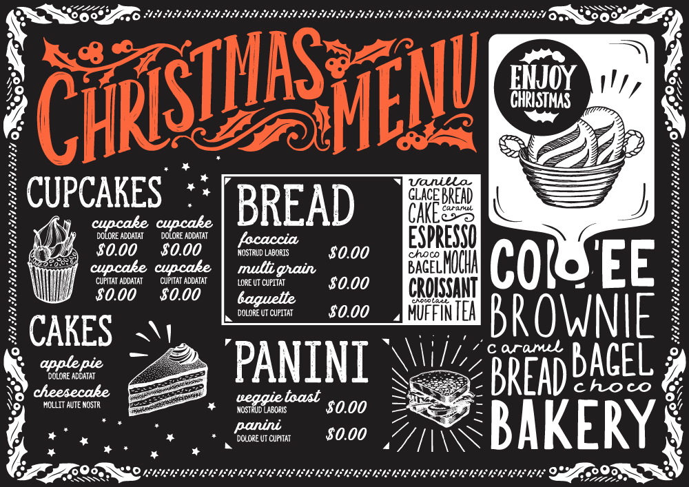 面包标签模板_创意黑板画圣诞菜单矢量素材_广告设计_懒人图库