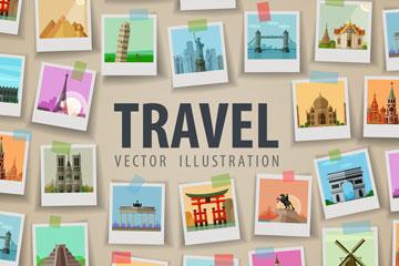创意环球旅行照片墙矢量素材