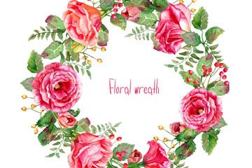 水彩绘玫瑰花花环矢量素材