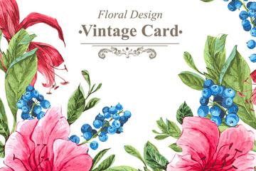 复古水彩绘花卉卡片矢量素材