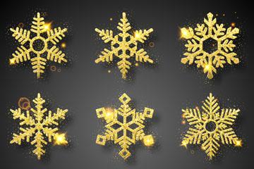 9款金色光晕圣诞雪花矢量素材