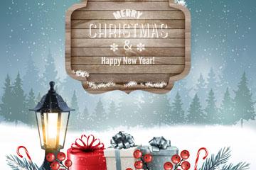 创意圣诞雪地里的礼盒矢量素材
