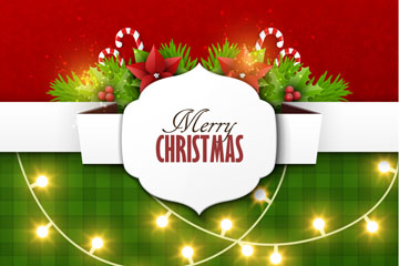 创意圣诞彩灯贺卡矢量素材