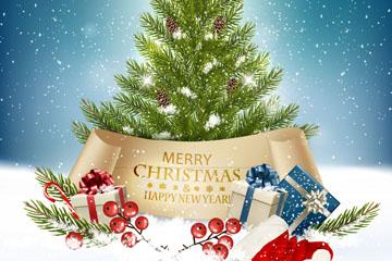 精美雪地圣诞树和礼盒设计矢量素材