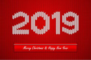红色2019年针织艺术字矢量素材