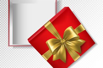 金色丝带包装红色空礼盒矢量素材
