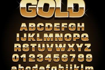 71款金色字母数字和符号矢量图