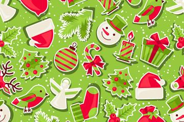 创意纸质圣诞元素无缝背景矢量图