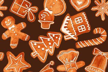 创意圣诞饼干无缝背景矢量图