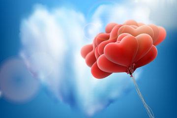 创意爱心云朵和气球束矢量素材