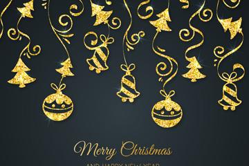金色圣诞节挂饰矢量素材