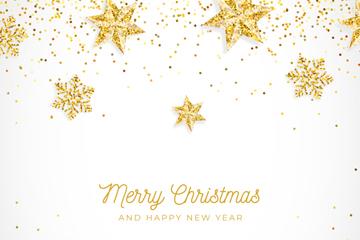 金色圣诞新年雪花贺卡矢量素材