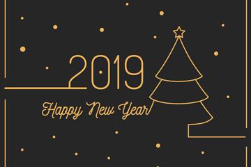 2019年金色新年圣诞树矢量素材