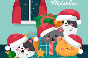 4只可爱圣诞夜猫咪矢量素材