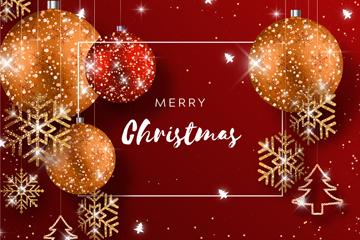 闪亮圣诞吊球雪花贺卡矢量素材