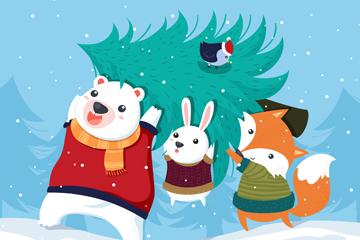 可爱搬运圣诞树的动物矢量素材