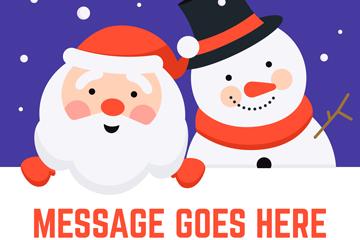 可爱圣诞老人和雪人设计矢量素材