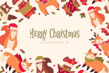 可爱圣诞元素边框贺卡矢量素材