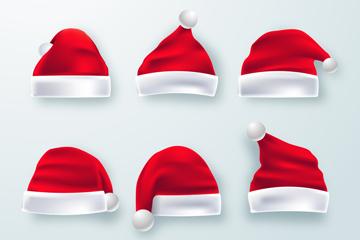 6款红色逼真圣诞帽矢量素材