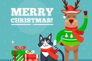 可爱圣诞驯鹿和黑色猫咪矢量图