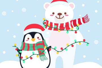 可爱圣诞节企鹅和北极熊矢量素材