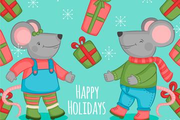 彩色假期老鼠和礼盒矢量素材