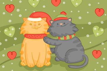2只彩绘圣诞猫咪矢量素材