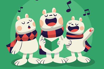 卡通合唱的3只兔子矢量素材