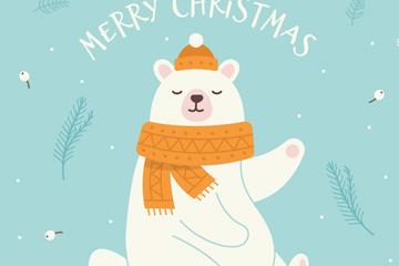 白色摆手的圣诞北极熊矢量素材