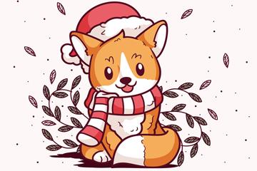 可爱圣诞装扮狐狸矢量素材