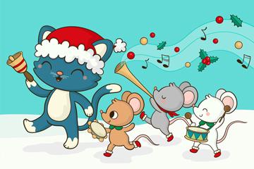可爱圣诞演奏的猫和老鼠矢量图