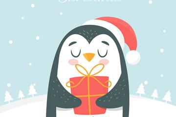可爱怀抱礼物的企鹅矢量素材