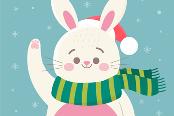 可爱圣诞节招手的兔子矢量素材