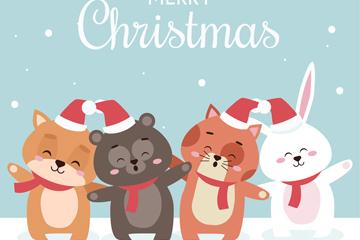 可爱圣诞节微笑的4只动物矢量图