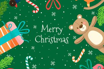 彩色圣诞玩具边框贺卡矢量图