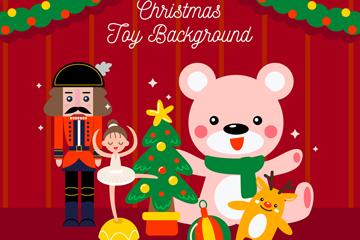 6个可爱圣诞玩具设计矢量图