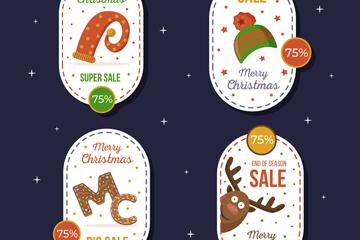 4款创意椭圆形圣诞促销标签矢量图
