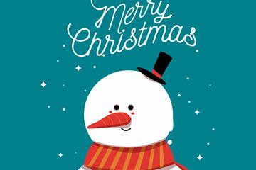 可爱圣诞雪地雪人矢量素材
