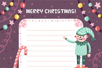 彩绘圣诞精灵装饰信纸矢量素材
