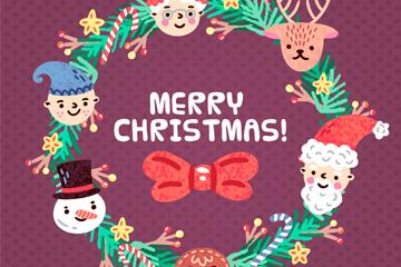 可爱圣诞角色头像花环矢量图