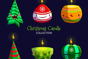 6款可爱表情圣诞蜡烛矢量素材