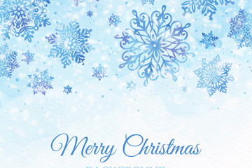彩绘圣诞节蓝色雪花矢量素材