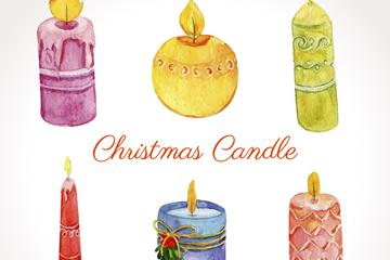 6款水彩绘圣诞蜡烛矢量素材