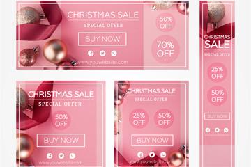 5款粉色圣诞促销卡片banner矢量