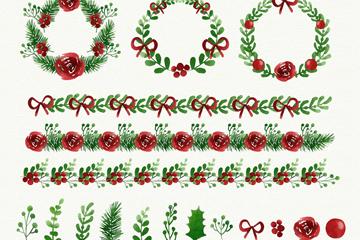 18款彩绘圣诞花边和花环矢量图