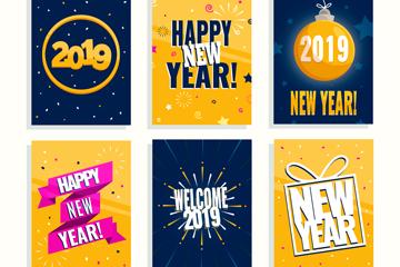 6款彩色2019年新年卡片矢量图