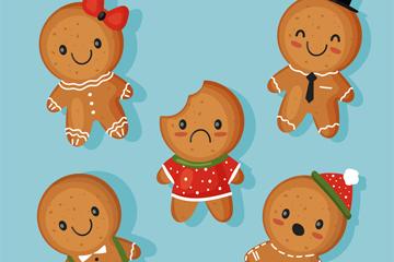 5款卡通圣诞节姜饼人矢量素材