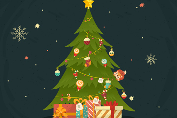 可爱绿色圣诞树和礼物矢量素材